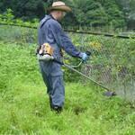 ナイロンコードの草刈機は、フェンスや金網があるところでも使える。