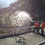 消火栓による初期消火訓練に出る